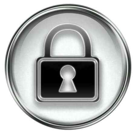 Lock icon grey, isolated on white background. Stock Photo