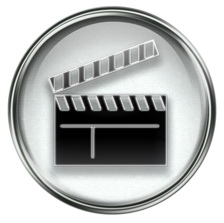 collectible: movie clapper board icon grey, isolated on white background.
