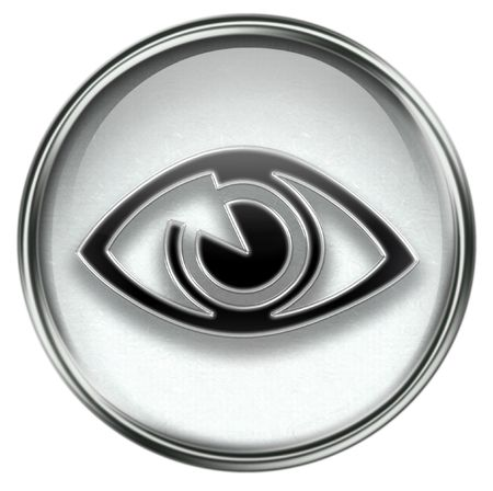 searchengine: eye icon grey, isolated on white background.
