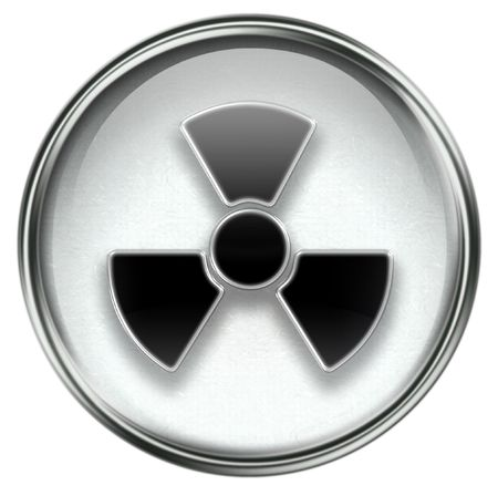infectious waste: Radioactive icon grey, isolated on white background. Stock Photo