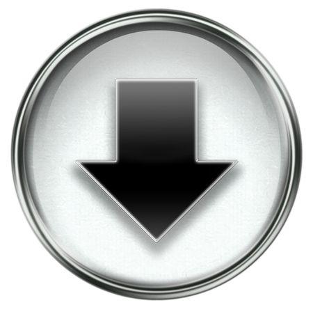 boton flecha: Icono flecha abajo gris, aislados sobre fondo blanco. Foto de archivo