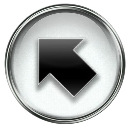 turn left: Arrow icon grey, isolated on white background.