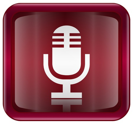 decibels: Microphone icon red, isolated on white background