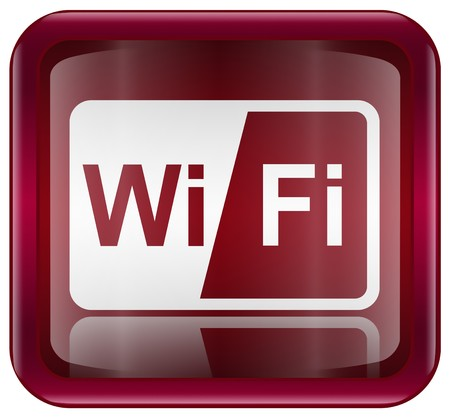 wifi sign: WI-FI icon red, isolated on white background