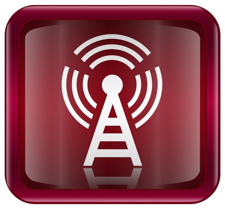 radio tower: WI-FI tower icon red, isolated on white background