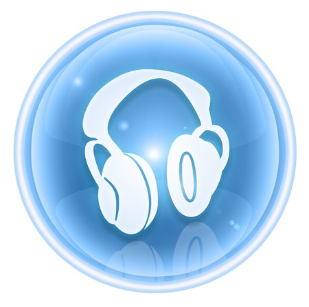cd recorder: headphones icon ice, isolated on white background.