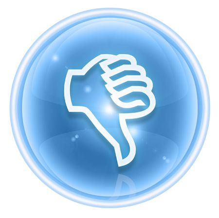 ineffective:  thumb down icon ice, isolated on white background.