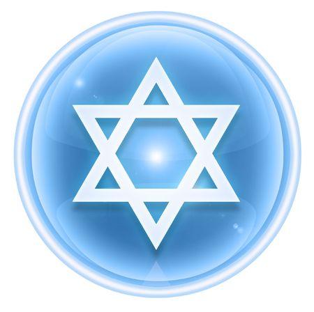 estrella de david: Icono de estrella de David de hielo, aislados en fondo blanco.
