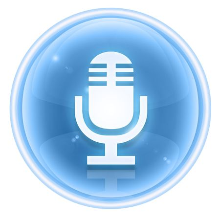 decibels: Microphone icon ice, isolated on white background