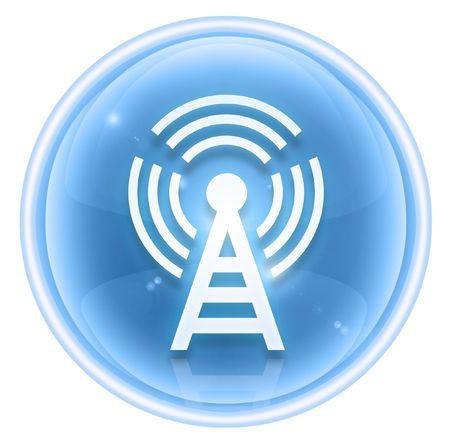 wep: WI-FI tower icon ice, isolated on white background Stock Photo