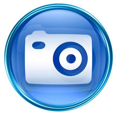 camera shutter: Camera icon blue, isolated on white background