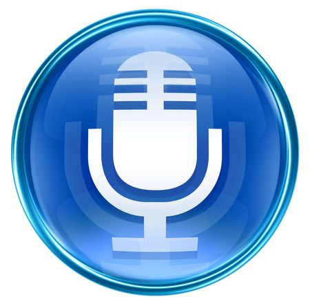 decibels: Microphone icon blue, isolated on white background