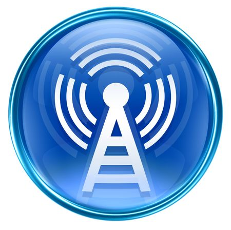 wep: WI-FI tower icon blue, isolated on white background