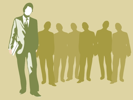 Business man standing apart from his co-workers. Stock Photo