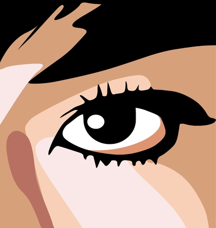 Anime style vector drawing of a womans face, close-up on the eye.  Vector
