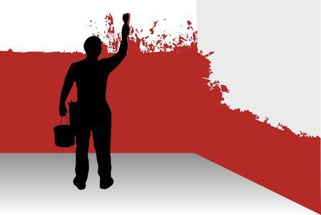 Vector illustration of a man painting walls.  illustration