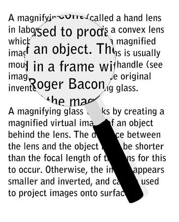 enlarged: Illustrazione vettoriale di una lente di ingrandimento su testo allargata.