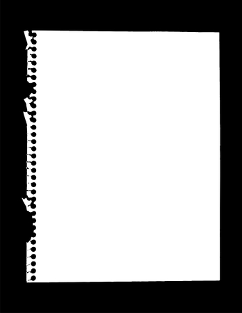 Vector illustration of notebook paper isolated on black. Illustration