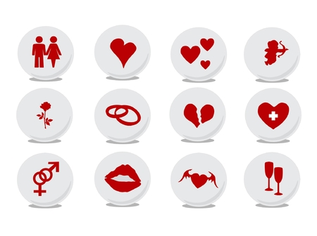 Vector illustration of Love buttons. Ideal for Valentine Cards decoration Vector