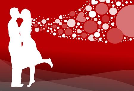 dating and romance: Illustrazione vettoriale di un romantico matura baciare un cuore pieno di sfondo. Vettoriali