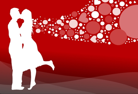 Vector illustration of a romantic couple kissing on a heart filled background.
