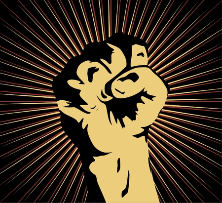 rebeldia: Un puño cerrado en alto en señal de protesta