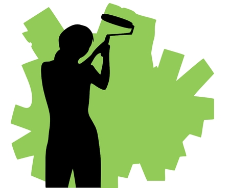 house painter: Vector illustration of a lady painting walls.  Illustration