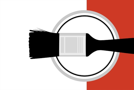 staging: Vector illustration of a paintbrush on a paint can. Illustration
