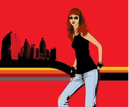 smart girl: Vector illustration of a lady. Illustration