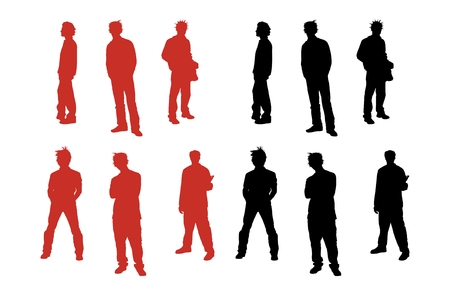Silhouette series of guys. Stock Vector - 4805117