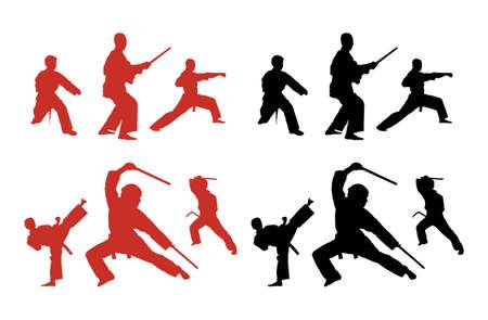 Silhouette series of people doing karate. Vector