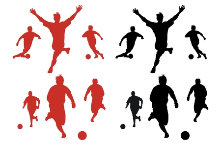 Silhouette series of people playing soccer.