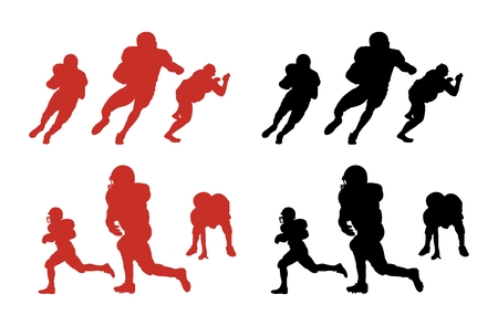 Silhouette series of people playing American football.