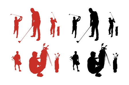 Silhouette series of people playing golf.