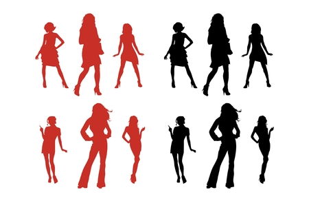 sexy hot couple: Vector silhouette series of women. Illustration