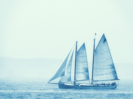 Sailing in the morning mist.