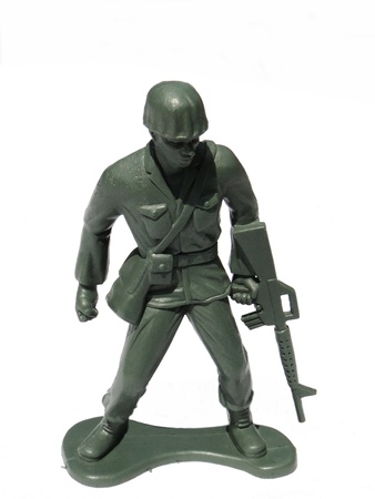 action figure: Close-up action toy soldier, isolated on white.