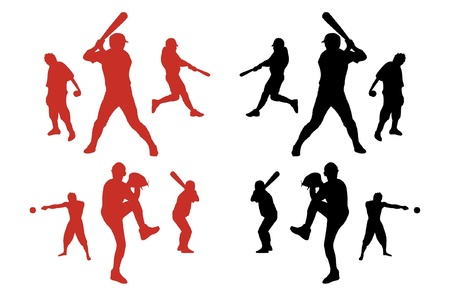 baseball catcher: Silhouettes of baseball players. Illustration