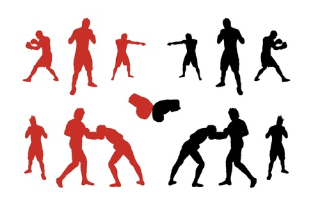 Silhouettes of boxers. Vector