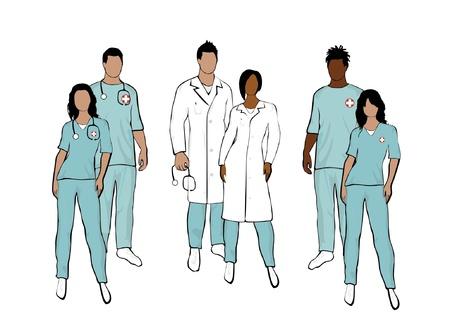 equipe medica: Corpo del team medico completo Vettoriali