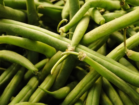 Close-up of string green beans. Stock Photo