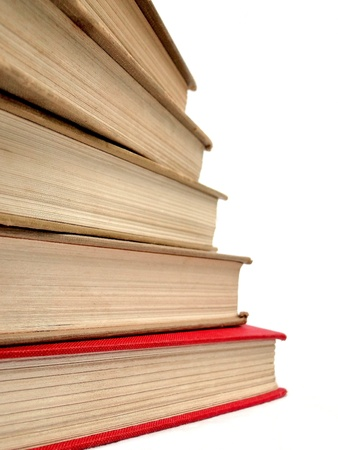Stack of books isolated on white.
