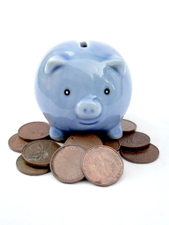 investment concept: Little blue piggy bank protecting pennies. Isolated on white. Stock Photo