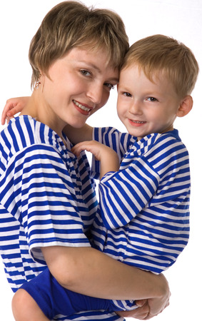 The child sits on hands at mother and is dared Stock Photo - 1537987