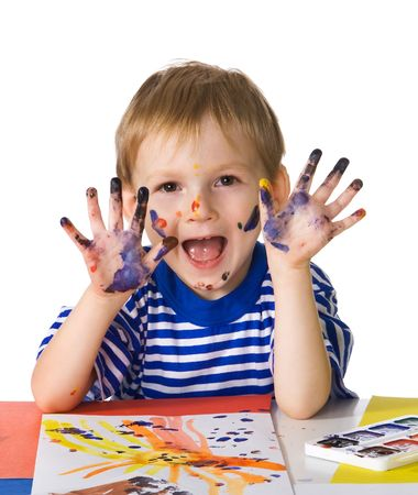 Small dirty and joyful painter Stock Photo - 2109902