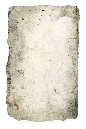 antiquarian: Old sheet of a paper isolated on white