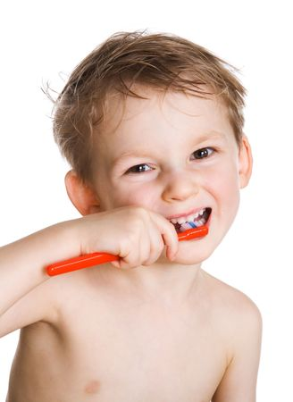 Happy kid cleans a teeth Stock Photo - 2511536