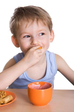 Breakfast of the cheerful kid photo