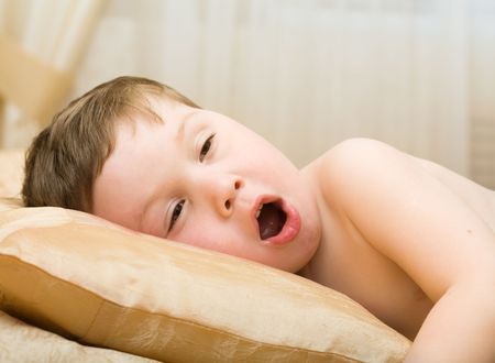 woken: Kid has woken up Stock Photo