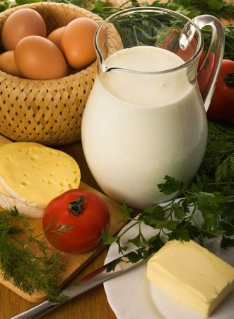 Rural still-life with milk and greens Stock Photo - 2995124